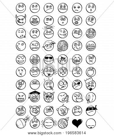 Large set of 60 vector hand drawn cartoon smiley faces emoticons .
