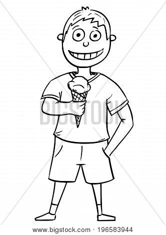 Hand drawing cartoon vector illustration of boy holding cone with scoop of ice cream.