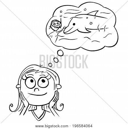 Hand drawing cartoon vector illustration of girl dreaming about live of ocean scientist swimming with dolphin.