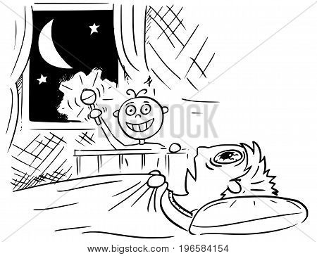Hand drawing cartoon vector illustration of baby not sleeping and doing noise at night and mother or father lying deadly tired in bed and not able to sleep.