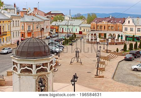 CHERNIVTSI, UKRAINE- APRIL 22, 2017: Saint Maria square (forner Turkish square) in Chernivtsi, Ukraine