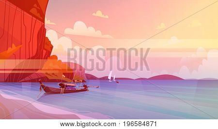 Thailand Landscape Long Tail Boat Seascape Beautiful Asian Beach Seaside View Flat Vector Illustration