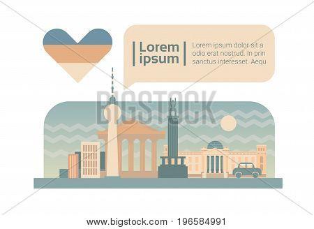 Berlin Street City Buildings Facade Skyline Cartoon Flat Vector Illustration