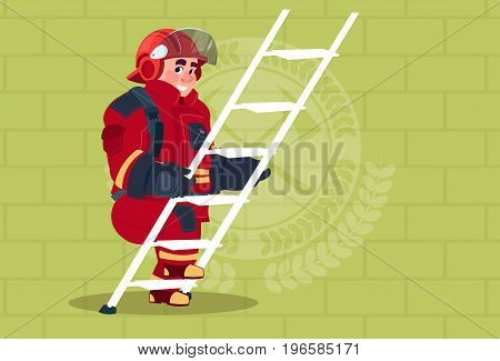 Fireman Climb Ladder Up In Uniform And Helmet Adult Fire Fighter Over Brick Background Flat Vector Illustration