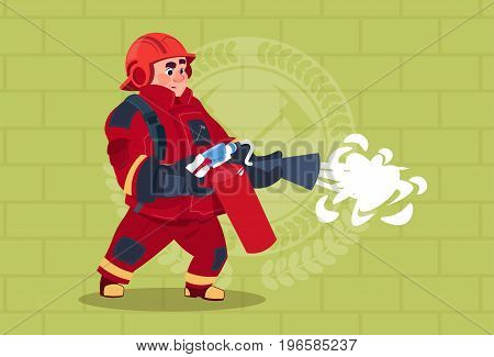 Fireman Hold Extinguisher Wearing Uniform And Helmet Adult Fire Fighter Stand Over Brick Background Flat Vector Illustration