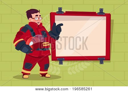 Fireman Leading Training Of Alarm On Board Wearing Uniform Hold Helmet Fire Fighter Over Brick Background Flat Vector Illustration