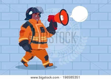 African American Fireman Speaking In Megaphone Wear Uniform And Helmet Adult Fire Fighter Over Brick Background Flat Vector Illustration