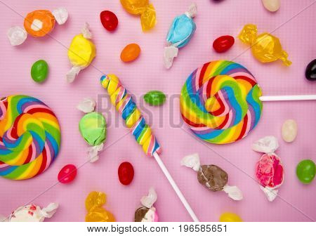 Rainbow Candy Background with a Pink Backdrop