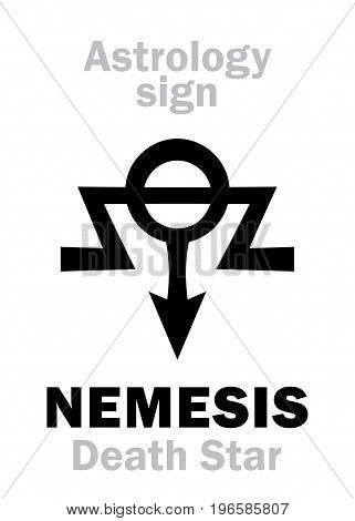 Astrology Alphabet: NEMESIS (Death Star), hypothetical super-distant sinister star-satellite of Sun. Hieroglyphics character sign (single symbol).