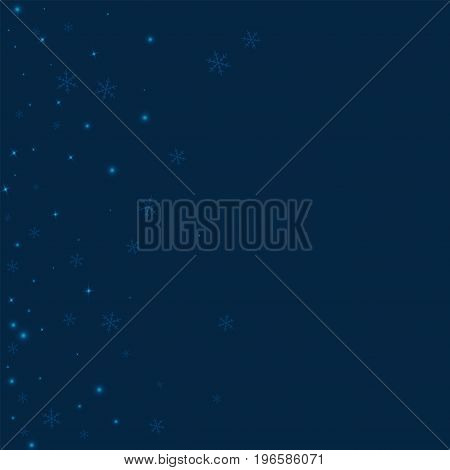 Sparse Glowing Snow. Scatter Left Gradient On Deep Blue Background. Vector Illustration.