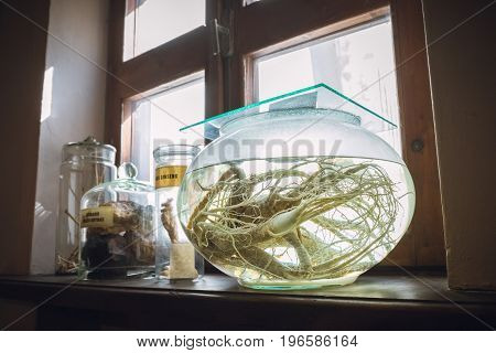 Kaunas, Lithuania - May 12, 2017: Retro Drugs, Substance And Infusion On Windowsill In Museum Of The