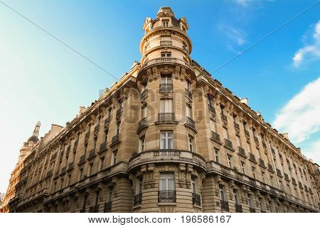 The facade of traditional Parisian building, France.