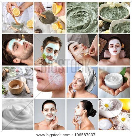 Collage for anti acne mask theme. Skin care concept