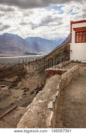 View to Nubra Valley from Diskit Buddhist Monastery in Kashmir, India