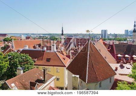 Tallin, Estonia-July 7, 2017: View over the roof tops of the City of Tallin with cruise ships in the harbor in the distance.