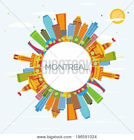 Montreal Skyline with Color Buildings, Blue Sky and Copy Space. Business Travel and Tourism Concept with Historic Architecture. Image for Presentation Banner Placard and Web Site