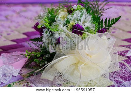 Beautiful Colorful Bouquet Of Flowers In A Round Box
