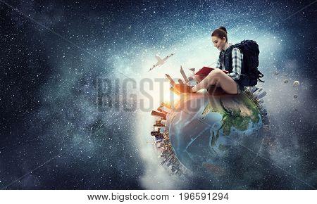 Dream to travel around the world. Mixed media