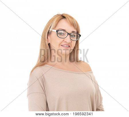Portrait of attractive mature woman on white background