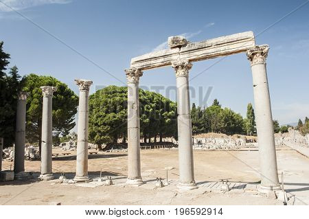 Row of Columns in the ruins of ancient Greek city of Ephesus