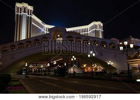 MACAU - APRIL 2: Facade of the Venetian casino on April 2, 2017 in Macau. Macau is famous for casino and luxury resorts.
