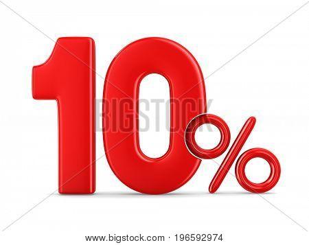 Ten percent on white background. Isolated 3D illustration