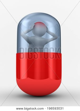 man with headache in capsule on white background. Isolated 3D illustration