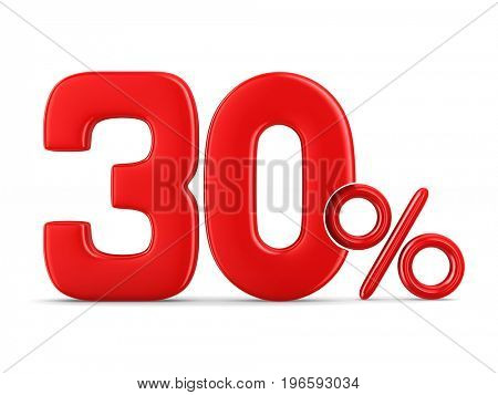 Thirty percent on white background. Isolated 3D illustration