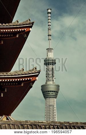 TOKYO, JAPAN - MAY 15: Skytree and historical architecture in temple on May 15, 2013 in Tokyo. Sensoji Temple, founded in 645 CE, making it the oldest temple in Tokyo.