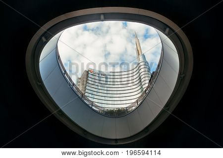 MILAN - MAY 24: Modern buildings in Piazza Gae Aulenti on May 24, 2016 in Milan, Italy. Milan is the second most populous in Italy and the main industrial and financial center.