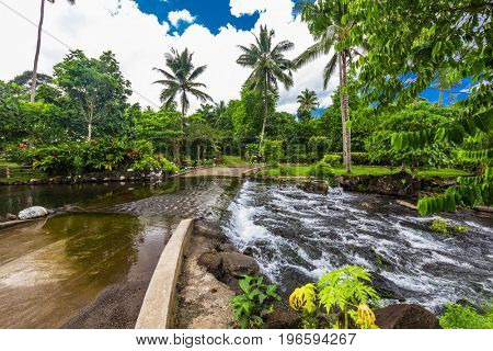 Road crossing the river, Upolu, Samoa Islands