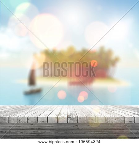 3D render of a white wooden table looking out to a defocussed tropical landscape