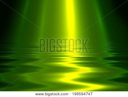 Liquid metal texture, green metallic background.