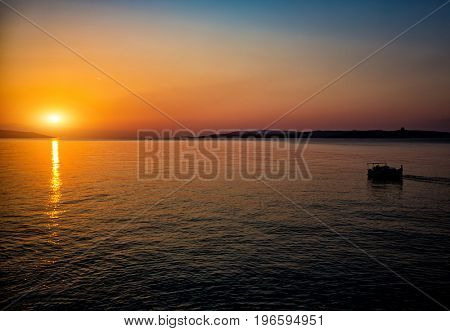 Panorama of sunset or sunrise on the calm sea