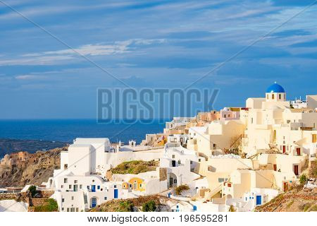 Architecture in town Oia. Santorini Greece