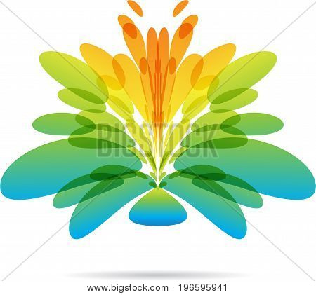 Abstract fantasy flower icon on white background