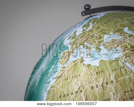 3d rendering of a globe shows europe