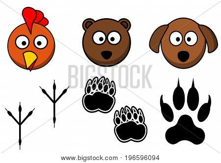 Illustration. Cartoon. Animals linked with their Footprints. White background. Funny