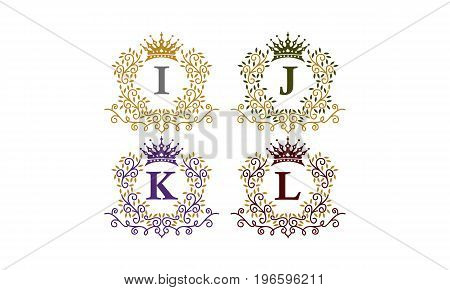 This image describe about Leaves Crown Initial I J K L