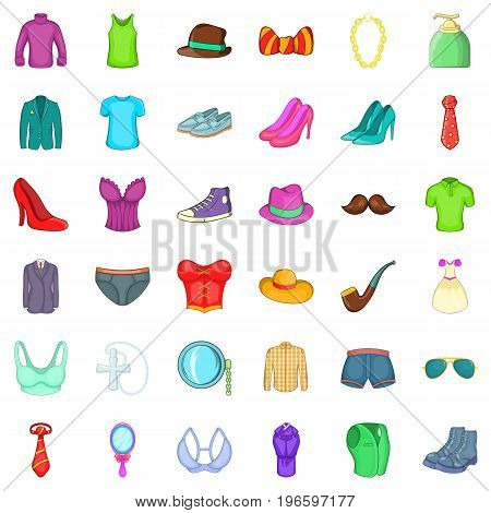 Different accessories icons set. Cartoon style of 36 different accessories vector icons for web isolated on white background