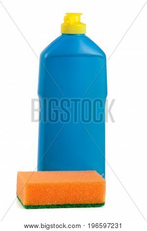 dishwashing detergent with sponge isolated on white background.