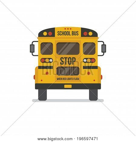 School bus back view flat illustration, icon isolated on white background