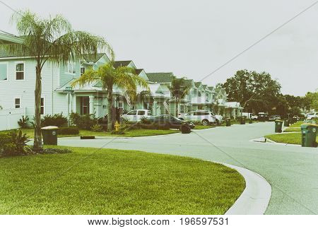 Suburban residential area, row of modern town homes in Jacksonville beach, Florida