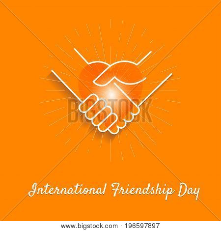 Friendly handshakes and heart as a symbol of unity compliance partnership greetings on the orange background. Friendship Day.