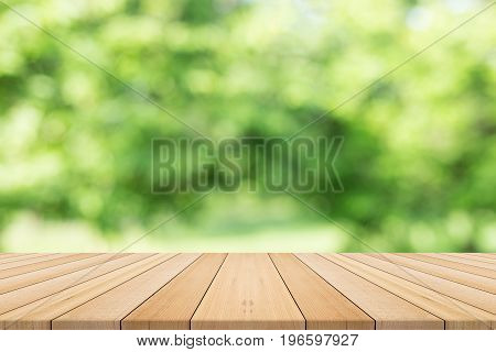 table top on green blurred background,Space for placing products