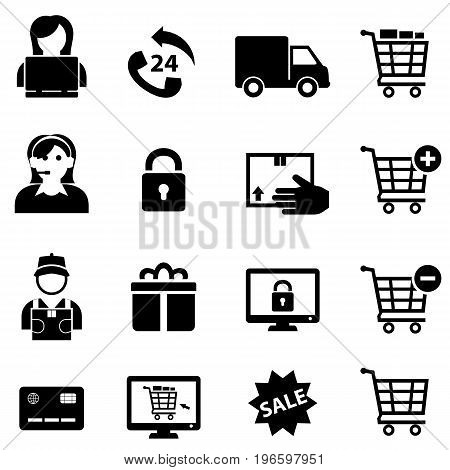 Online shopping and e-commerce icon set in black