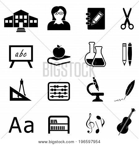 Education learning and back to school icon set