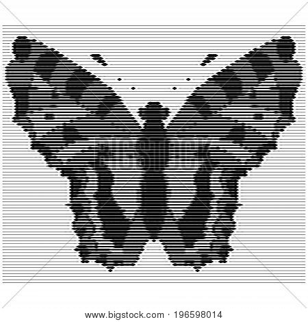 Engraving of the silhouette of a butterfly with vertical noises. Vector illustration