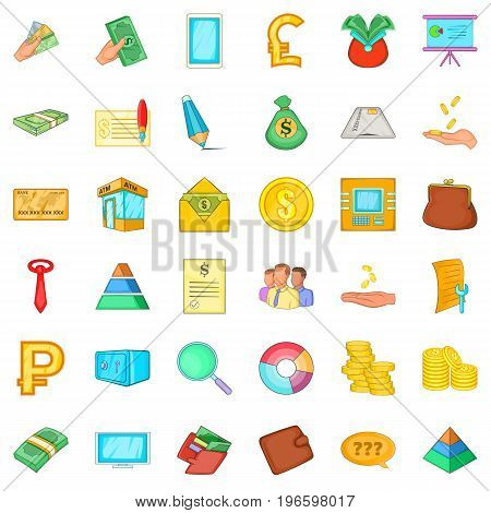 Accounting icons set. Cartoon style of 36 accounting vector icons for web isolated on white background