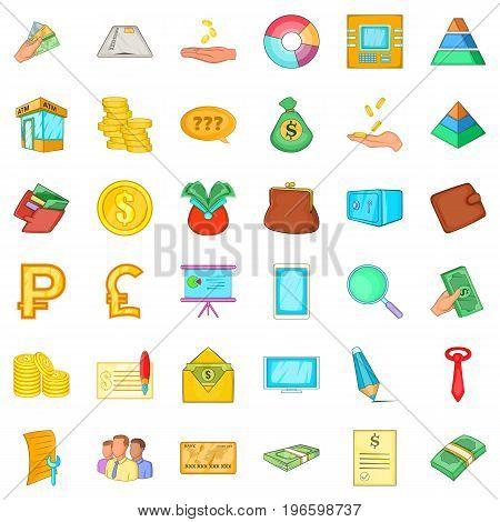 Saving money icons set. Cartoon style of 36 saving money vector icons for web isolated on white background